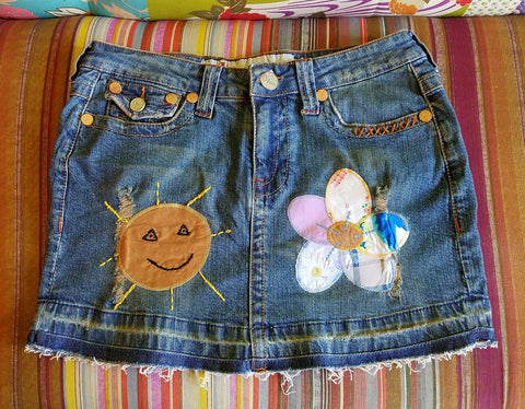 Rising Sun Patchwork Denim Nomad Mini Skirt
