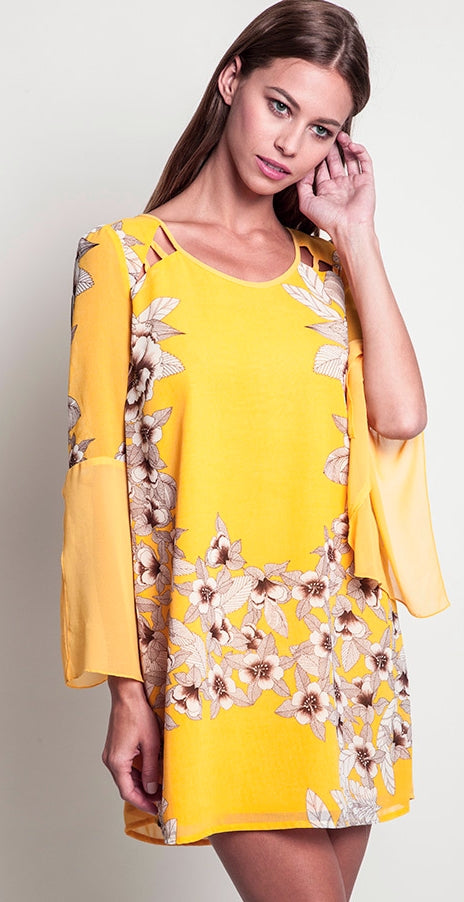 Belle Floral Yellow Dress