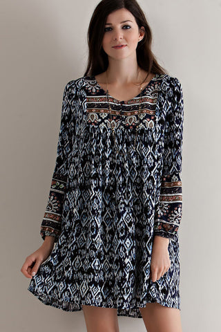 Wind Willow Boho Navy Dress
