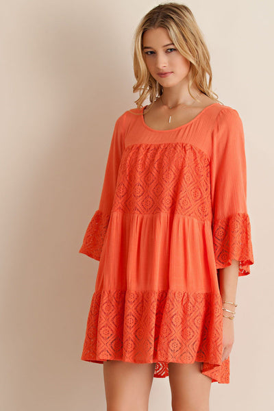 Boho Angel Lace Pieced Tiered Dress