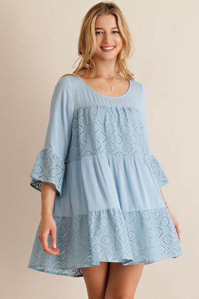 Clear Skies Angel Lace Pieced Tiered Dress