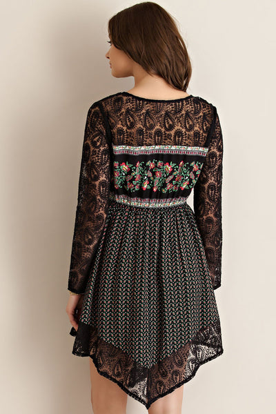 Vintage Wallflower Floral Black Mesh Lace Dress