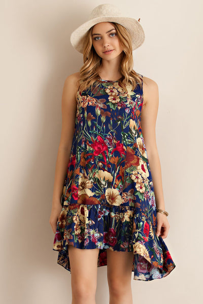 Winter Garden Print Floral Ruffle Navy Dress