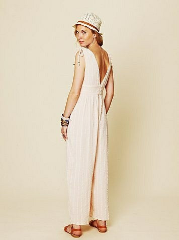Free People Songbird Nomad Pale Peach Romper