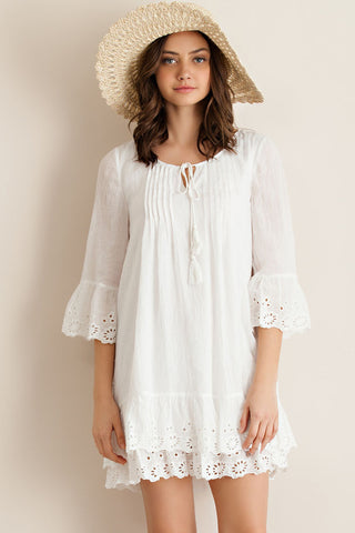 On the Beach White Ruffle Eyelet Lace Dress