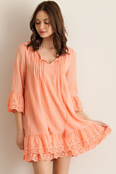 Dreaming of Paradise Ruffle Eyelet Lace Dress