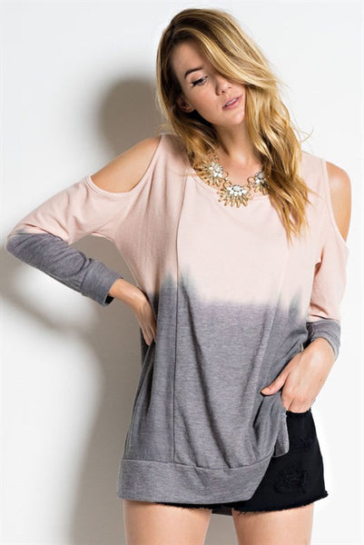 On The Road Again Open Shoulder Dip Dyed Pink/Lavender Terry Sweater Top