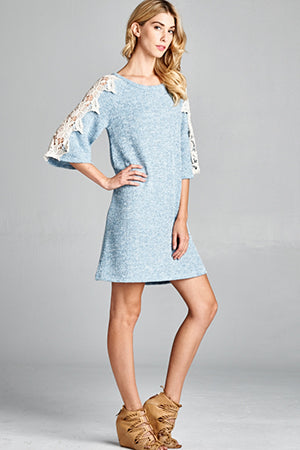 A Day of Romance Blue Knit & Lace Dress