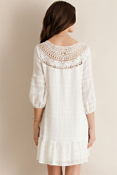 Love Spell Crochet Ivory Ruffle Dress