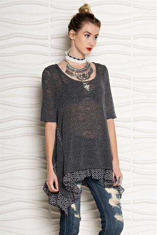 Sunrise Knit Charcoal Smoke Floral Tunic