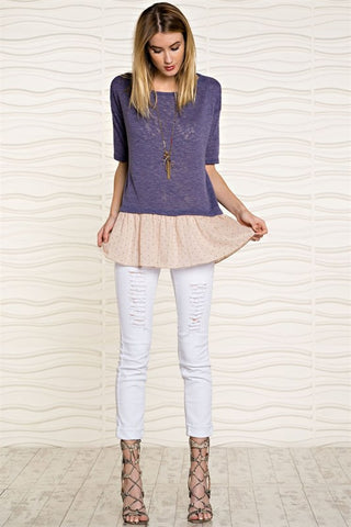Love Street Lilac Polkadot Top