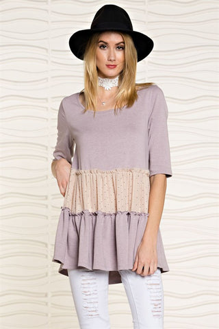 Sweet Prairie Tiered Lavender Tunic Top