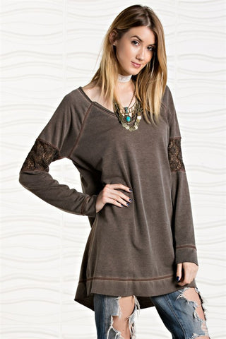 Look Away Lace Acidwash Coffee Pullover
