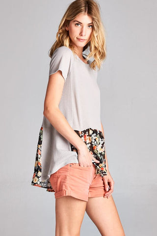 Vacation Bound Gray Black Floral Ruffle Top