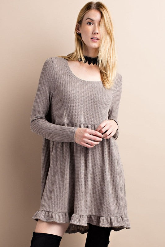 Dream On Mocha Thermal Ruffle Dress