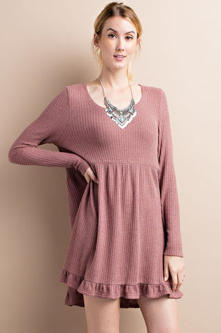 Dream On Mauve Thermal Ruffle Dress