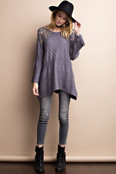 Traveling Lace Crochet Gunmetal Knit Sweater