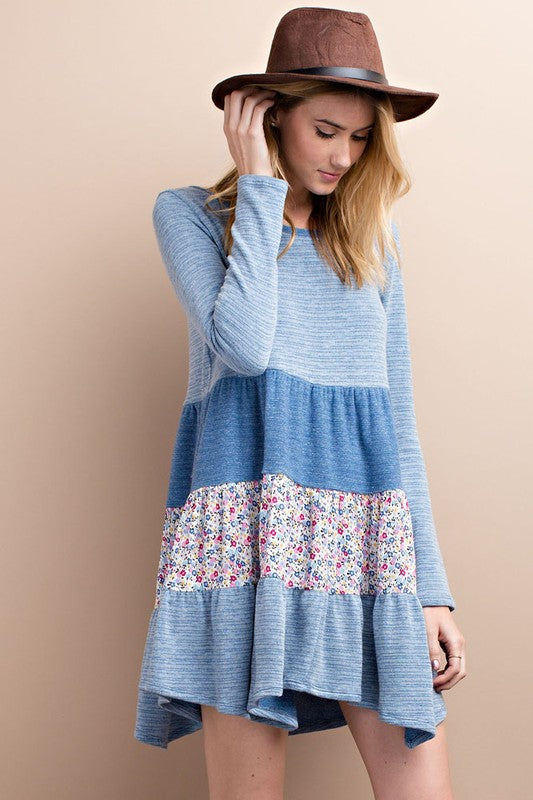 Lovey Dovey Floral Blue Tiered Dress