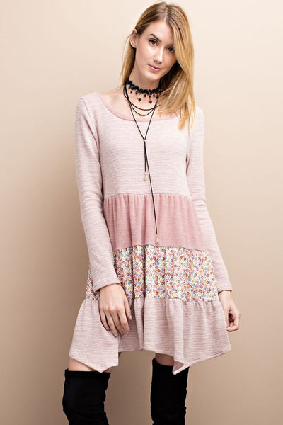 Lovey Dovey Floral Pink Sweater Dress