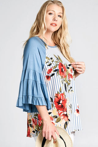 Retro Stripe Floral Ruffle Bell Sleeves Plus Top