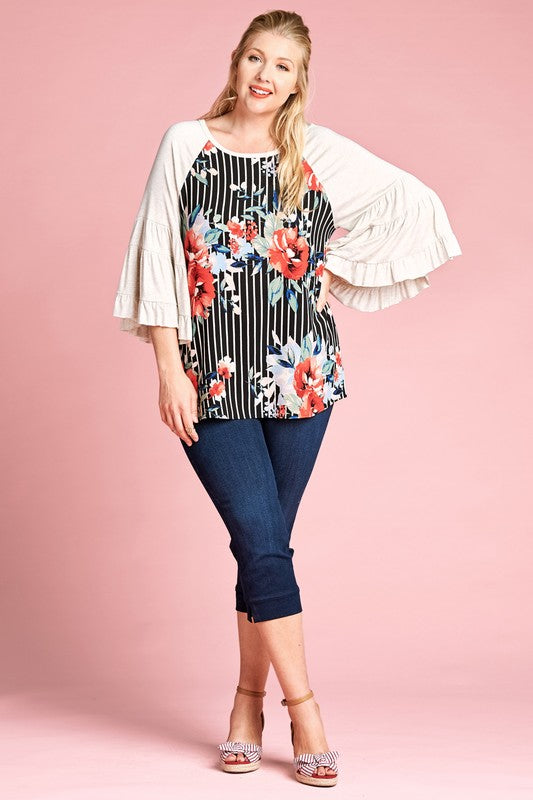 Raglan Retro Stripe Floral Ruffle Bell Sleeves Plus Top