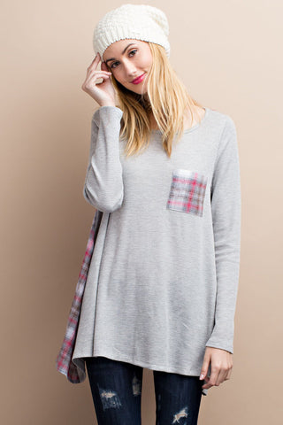 Frost Plaid Flare Heather Grey Red Thermal Top