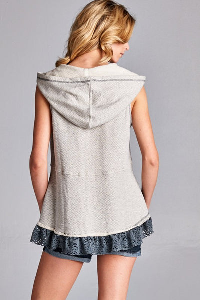 Beach Bound Sleeveless Lace Ruffle Heather Hoodie