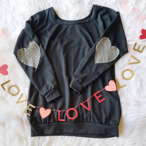 Much Loved Heart Patch Charcoal Pullover