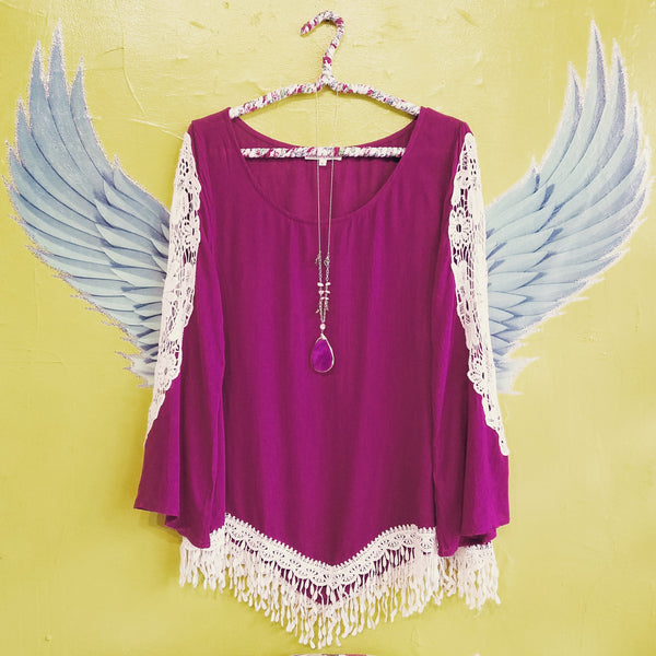 Love & Lace Berry Bell Sleeve Top