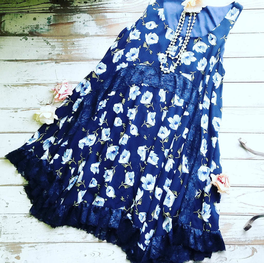 Floral Romance Vintage Navy Lace Dress