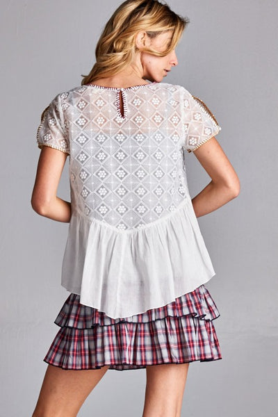 Diamond Embroidered Stitch Top