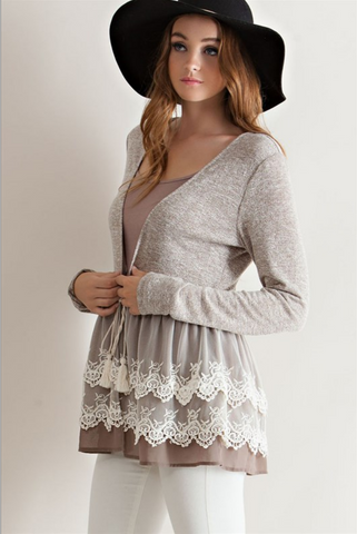 Forget Me Not Mocha Ruffle Crochet Lace Cardigan