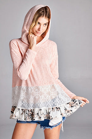 Weekender Lace Tiered Floral Ruffle Peach Terry Hoodie