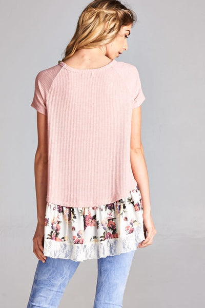 Vacation Bound Blush Floral Lace Ruffle Top