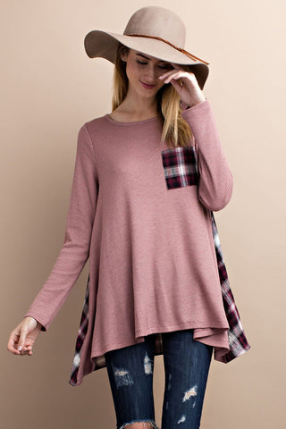 Frost Plaid Flare Mauve Burgundy Thermal Top