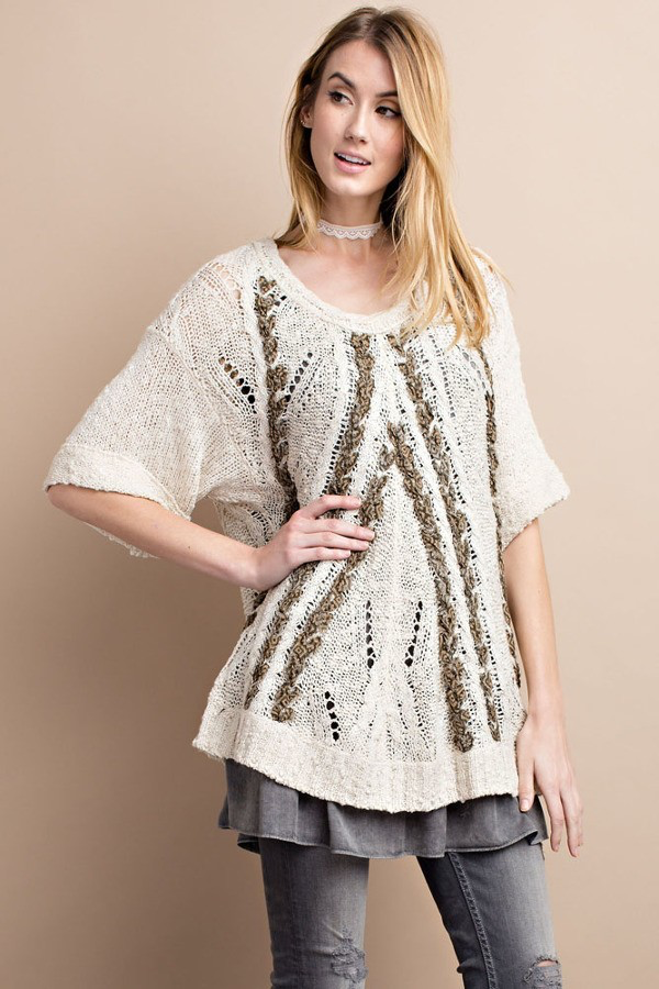 West Coast Braided Bliss Oatmeal Sweater