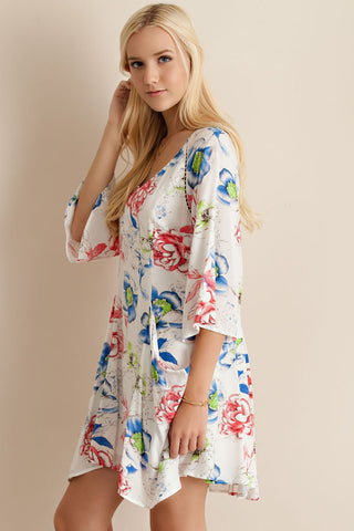 Rose Garden Floral Print A-line Ivory Side Pockets Dress