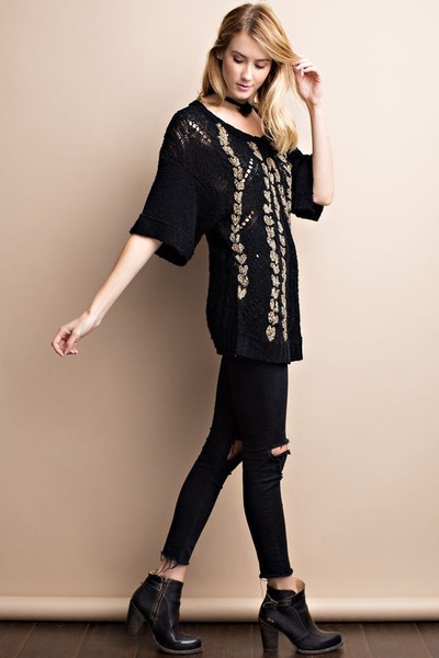 West Coast Braided Bliss Black Sweater