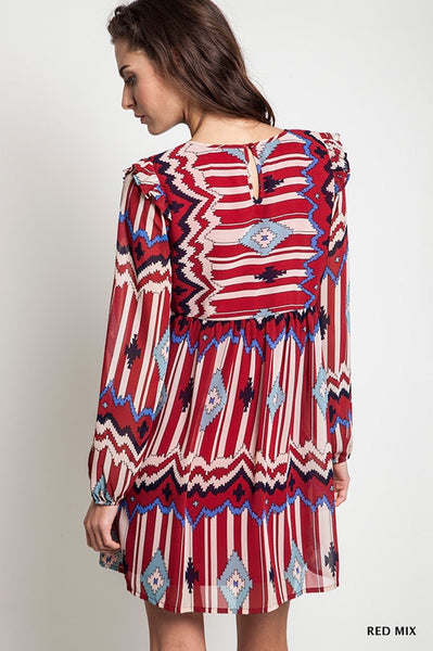Gone West Aztec Burgandy Print Dress