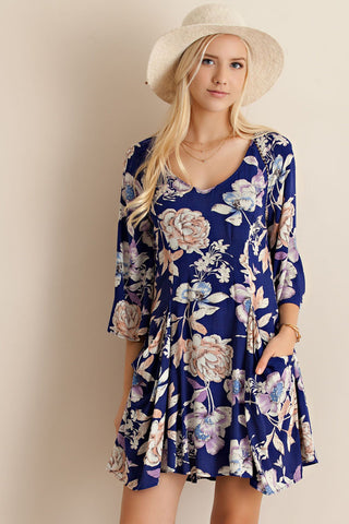 Rose Garden Floral Print A-line Navy Side Pockets Dress