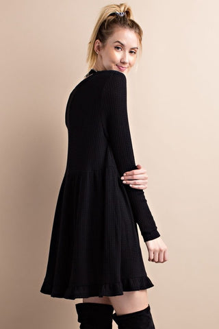Dream On Black Thermal Ruffle Dress