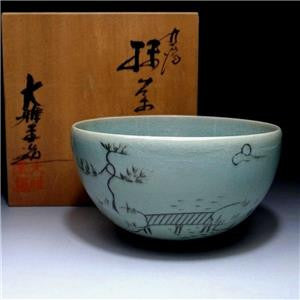 Vintage Japanese Celadon Matcha bowl with Signed Wooden box