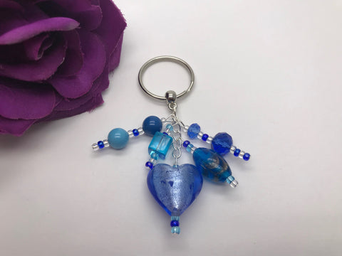 Blue Glass Heart Bag Charm