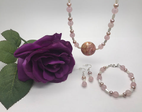 Rose Quartz, Mother of Pearl & Freshwater Pearl Set