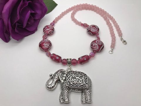 Rose Quartz Elephant Necklace