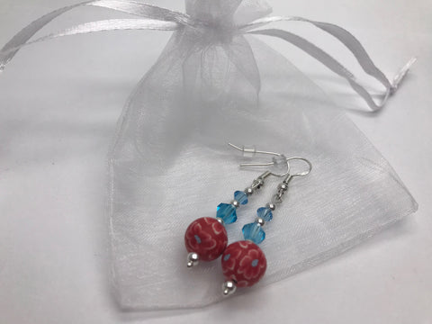 Hand Painted Floral Earrings & Blue Swarovski Crystal Elements