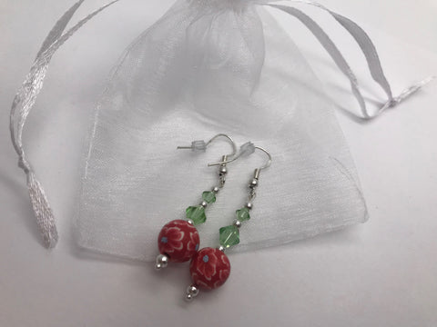 Hand Painted Floral Earrings & Green Swarovski Crystal Elements