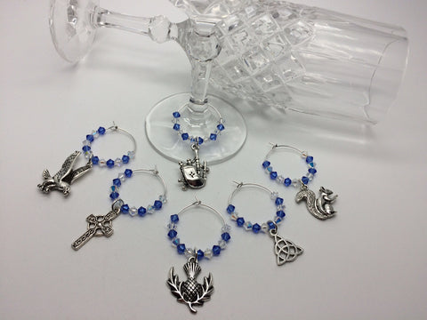 Scottish Themed Wine Glass Charms
