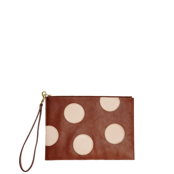 Polka Dot Vesu Clutch - Tan/Nude