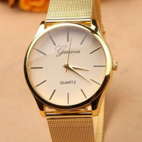 New Brand Name Geneva Quartz Watch Best Quality G 8072 Gold Watch Full Stainless Steel Woman Fashion Dress Watches